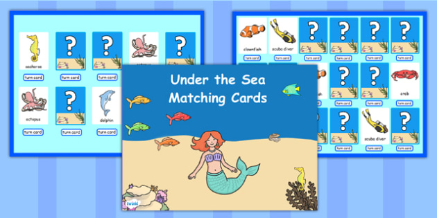 Under the Sea Matching Cards Activity Flipchart - stories, match
