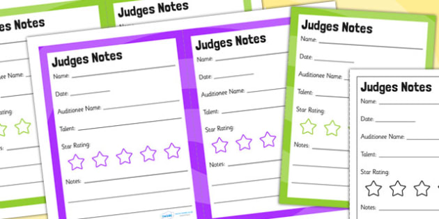 Talent Show Audition Role Play Judges Notes - talent, role play