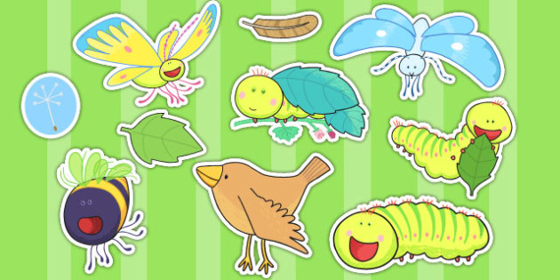 Story Cut Outs to Support Teaching on The Crunching Munching Caterpillar - stories