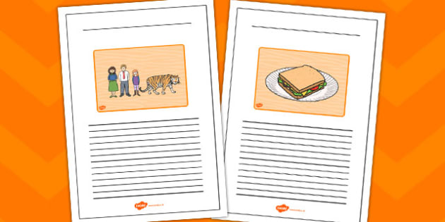 The Tiger Who Came to Tea Black and White Lined Writing Frames - the tiger who came to tea, black, white, writing frame, lined writing frames, literacy,