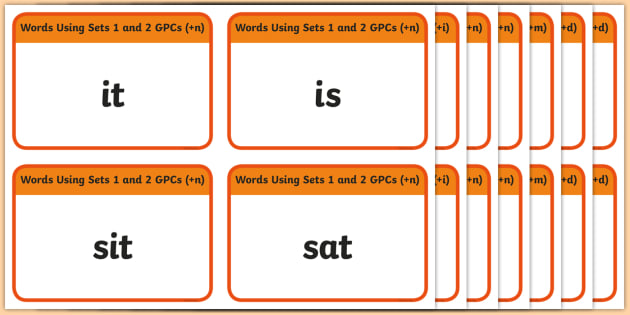 Words Using Sets 1 and 2 GPC Word Cards - Phase 2, suggested words for practising reading and spelling, suggested words, GPC, GPCs, Phase two, Word cards, DfES Letters and Sounds, Letters and sounds, phase 3 activity, satpin