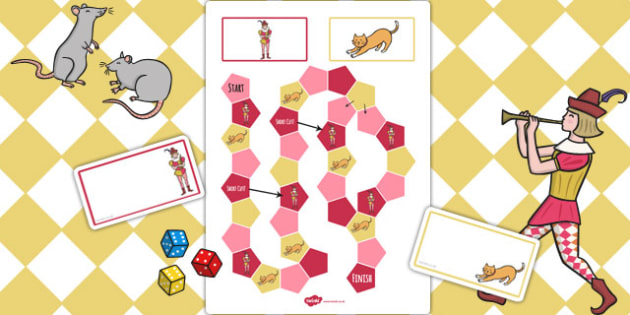 The Pied Piper Themed Editable Board Game - board, game, piper