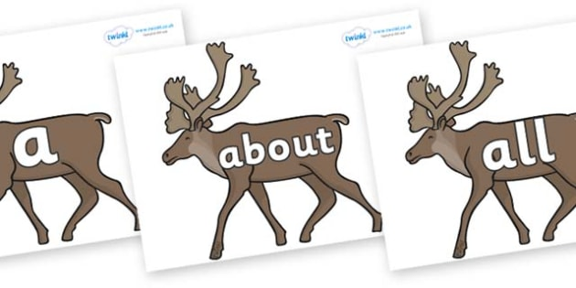 100 High Frequency Words on Caribous - High frequency words, hfw, DfES Letters and Sounds, Letters and Sounds, display words
