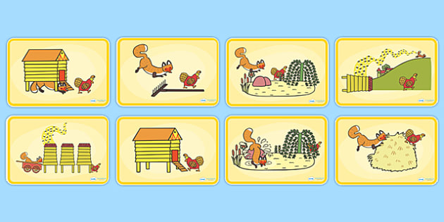 Story Sequencing (4 per A4) to Support Teaching on Rosie's Walk - Rosie's Walk, story, Pat Hutchins, book, sequencing, Rosie, fox, farm, story book, story resources, Rosie Walk sequencing, story sequencing, story resources