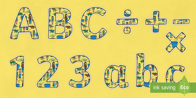 Themed Sized Editable Display Lettering to Support Teaching on Harry and the Bucketful of Dinosaurs