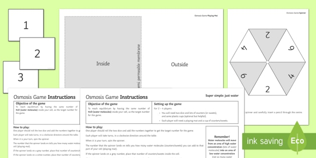 Osmosis Board Game - KS3 Science, gcse, osmosis, water molecules, concentration, gradient, diffusion, secondary, biology