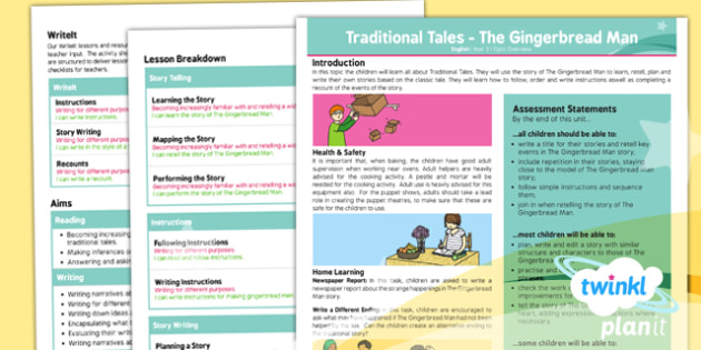 PlanIt Y2 The Gingerbread Man Topic Overview - traditional stories, traditional tales, story