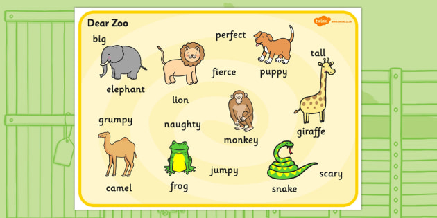 Word Mat (Images) to Support Teaching on Dear Zoo - Dear Zoo, Rod Campbell story, zoo, zoo animals, adjectives, descriptive words, lion, monkey, puppy, giraffe, story book, story book resources, story sequencing, story resources, zoo, animals, word m