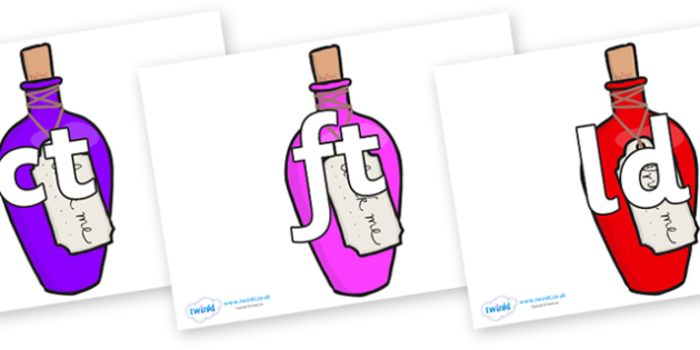 Final Letter Blends on Drink Me Bottles - Final Letters, final letter, letter blend, letter blends, consonant, consonants, digraph, trigraph, literacy, alphabet, letters, foundation stage literacy