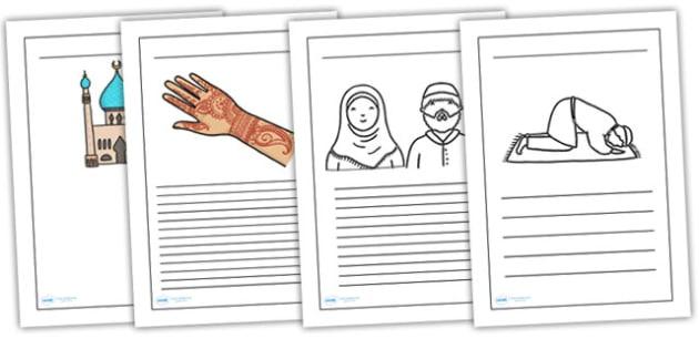 Eid Writing Frames-eid, writing, frames, writing frames, eid writing, eid themed worksheet, islam themed worksheet, religion, RE