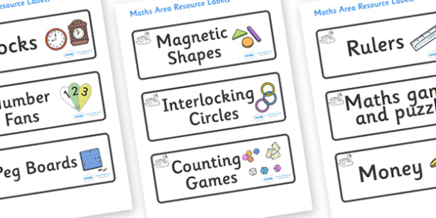 Swan Themed Editable Maths Area Resource Labels - Themed maths resource labels, maths area resources, Label template, Resource Label, Name Labels, Editable Labels, Drawer Labels, KS1 Labels, Foundation Labels, Foundation Stage Labels, Teaching Labels
