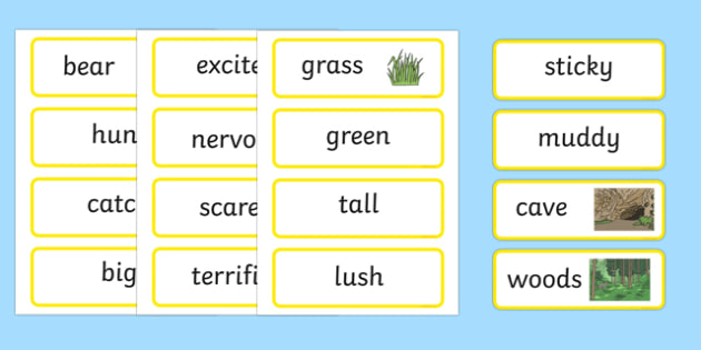 Bear Hunt Word Cards - bear hunt, word cards, words, cards, story
