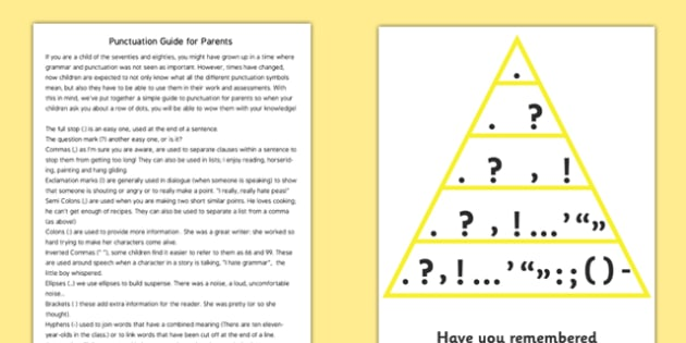 Punctuation Guide For Parents - punctuation guide for parents, for parents, guide, punctuation, explanation, grammar, grammatical, sheet, help, aid, parents, useful, explaining, comma, colon, speech marks