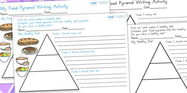 Healthy Eating Food Pyramid Writing Activity - food group, health