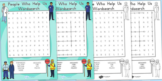 People Who Help Us Wordsearch - word search, word games, games