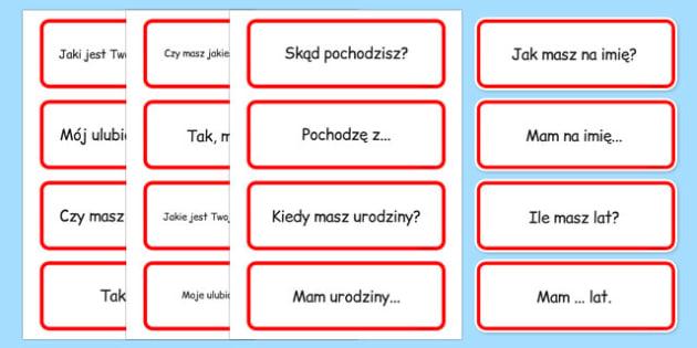Karty ze słownictwem Podstawowe zwroty po polsku - szkoła
