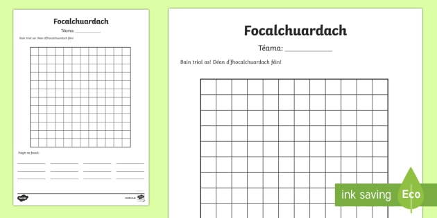 Focalchuardach Template Activity Sheet