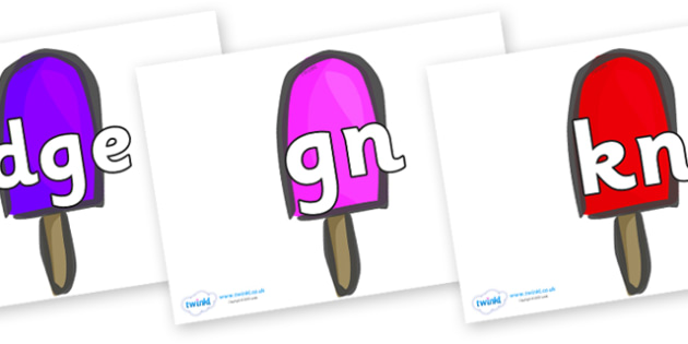 Silent Letters on Ice Lollies - Silent Letters, silent letter, letter blend, consonant, consonants, digraph, trigraph, A-Z letters, literacy, alphabet, letters, alternative sounds