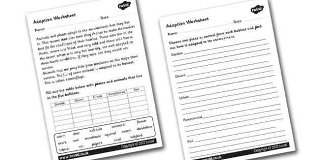 Adaption Worksheet - adaption, adaption information worksheet, animals that adapt, adapting, environments, environments worksheet, ks2 science worksheet