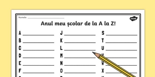 Anul meu școlar de la A la Z - Pagină de scris