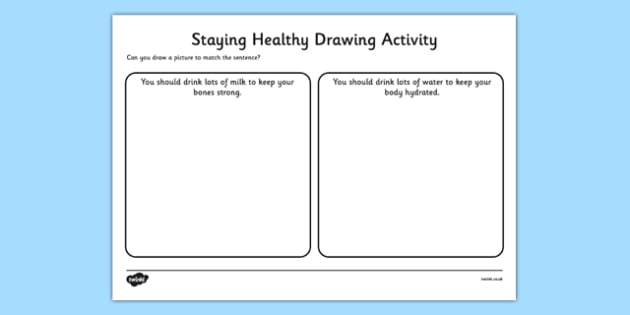 Staying Healthy Drawing Activity - Doctors, help, surgery, waiting room, healthy, milk, water, fruit, vegetables, poorly, ill, medicine