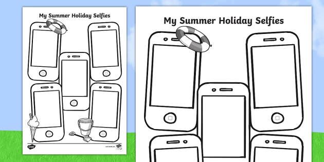Summer Holiday Selfies Writing Template