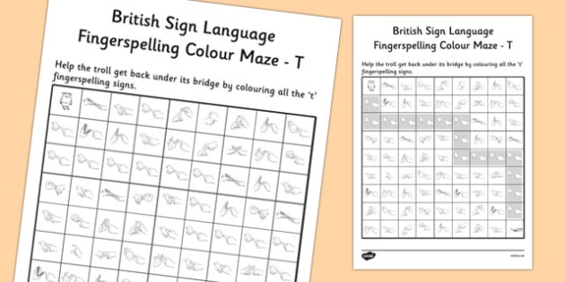 British Sign Language Left Handed Fingerspelling Colour Maze T