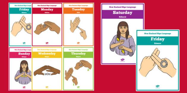 New Zealand Sign Language Days of the Week Cards Te Reo Maori - nz, new zealand, sign language, new zealand sign language week, days of the week, cards, te reo maori