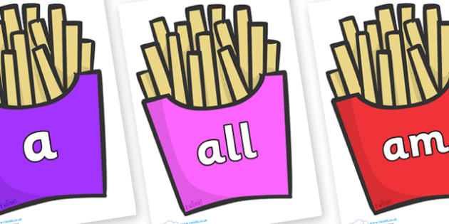 Foundation Stage 2 Keywords on French Fries - FS2, CLL, keywords, Communication language and literacy,  Display, Key words, high frequency words, foundation stage literacy, DfES Letters and Sounds, Letters and Sounds, spelling
