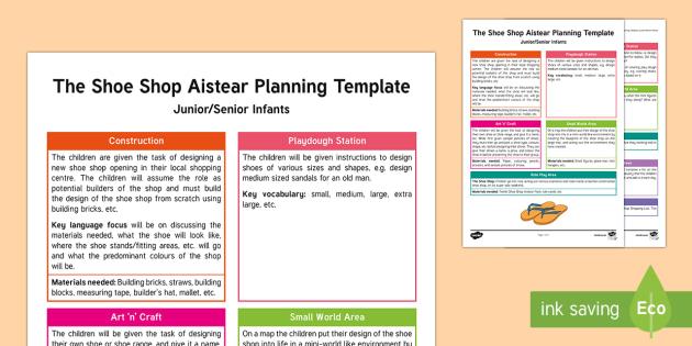 Aistear The Shoe Shop Planning Template