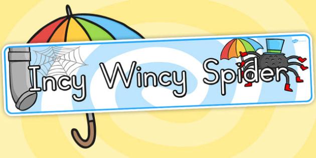 The Incy Wincy Spider Display Banner - Australia, Incy, Wincy