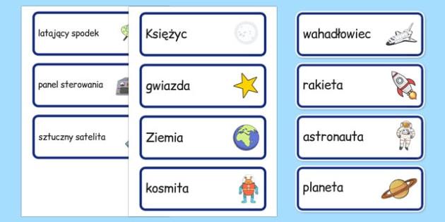 Karty ze słownictwem Statek kosmiczny po polsku - geografia