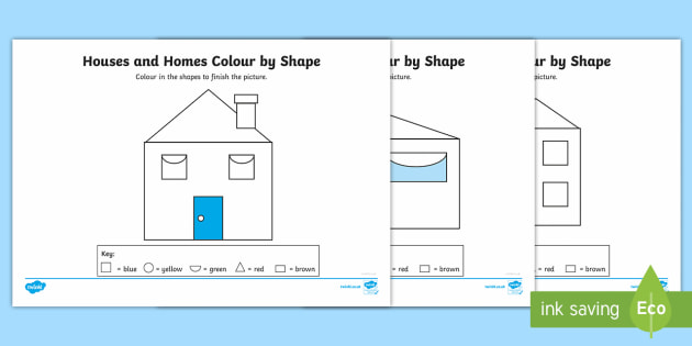 Houses and Homes Colour by 2D Shape Activity Sheets - kinds of houses pdf, houses and homes, shape, 2D shapes, shape and space, colouring, worksheets