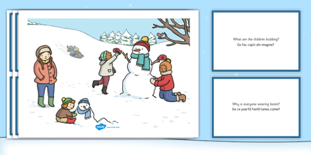 Winter Snowman Scene and Question Cards Romanian Translation - romanian, winter snowman, scene, question, cards