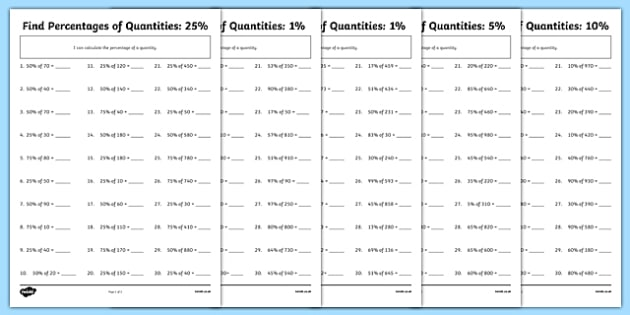 Find Percentages of Quantities Differentiated Activity Sheet Pack