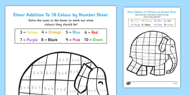 Addition To 10 Colour By Numbers Sheet to Support Teaching on Elmer - add, adding, maths