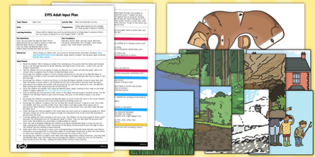 Bee Bot Activity to Support Teaching on Bear Hunt EYFS Adult Input Plan and Resource Pack