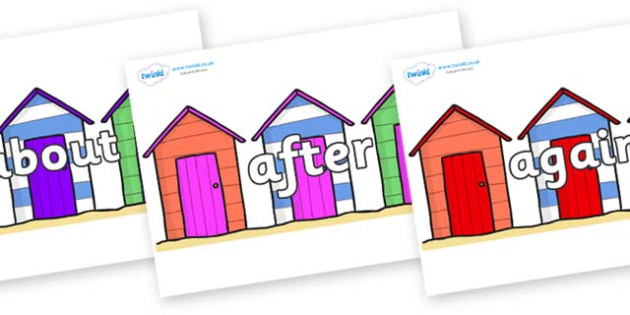 KS1 Keywords on Beach Huts - KS1, CLL, Communication language and literacy, Display, Key words, high frequency words, foundation stage literacy, DfES Letters and Sounds, Letters and Sounds, spelling