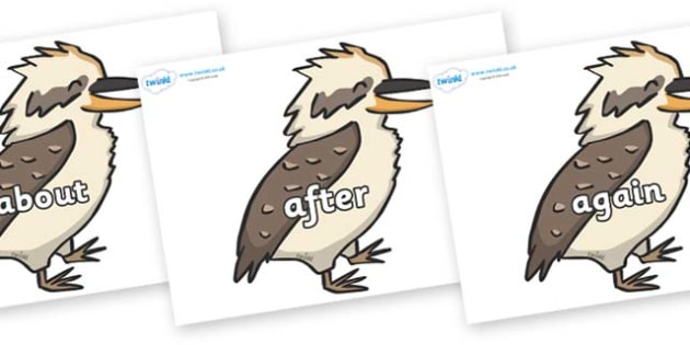 KS1 Keywords on Kookaburras - KS1, CLL, Communication language and literacy, Display, Key words, high frequency words, foundation stage literacy, DfES Letters and Sounds, Letters and Sounds, spelling
