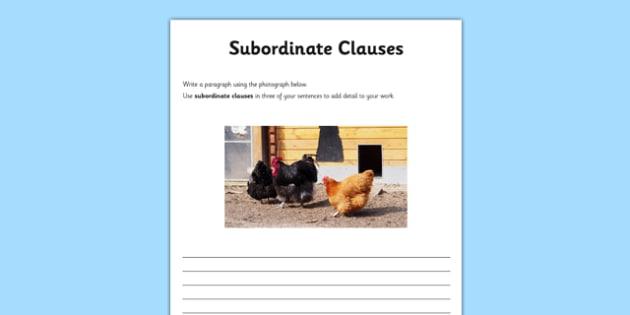Subordinate Clauses Application Activity Sheet - GPS, main, embedded, sentences, improving, worksheet