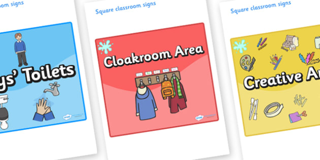 Turquoise Themed Editable Square Classroom Area Signs (Colourful) - Themed Classroom Area Signs, KS1, Banner, Foundation Stage Area Signs, Classroom labels, Area labels, Area Signs, Classroom Areas, Poster, Display, Areas