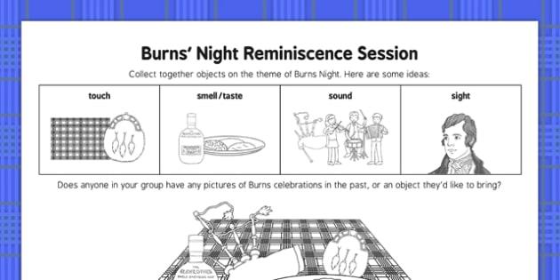 Burns Night Reminiscence Session - Elderly, Reminiscence, Care Homes, Burns' Night