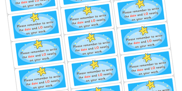 Time Saving Stickers for Marking Date and Learning Objective - marking, time saving, stickers, time saving stickers, stickers for marking, time saving stickers for marking, help marking
