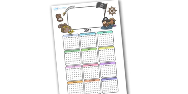 Editable 2013 Calendar Pirate - calendar, editable calendar, months of the year, display calendar, display, pirate, pirates, pirate calendar, pirate themed calendar, display poster, poster, the year, 2013, 2013 calendar