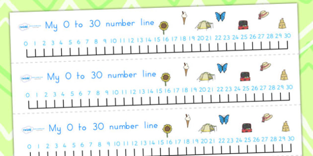 Summer Number Line 0-30 - summer, number line, numbers, maths