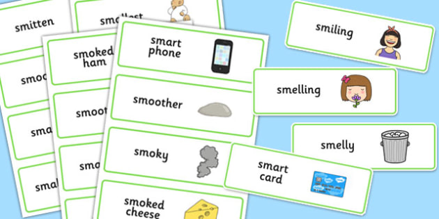 Two Syllable 'SM' Word Cards - sm sound, syllable, word cards, sound