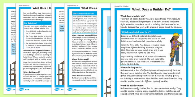 What Does A Builder Do? Differentiated Fact File