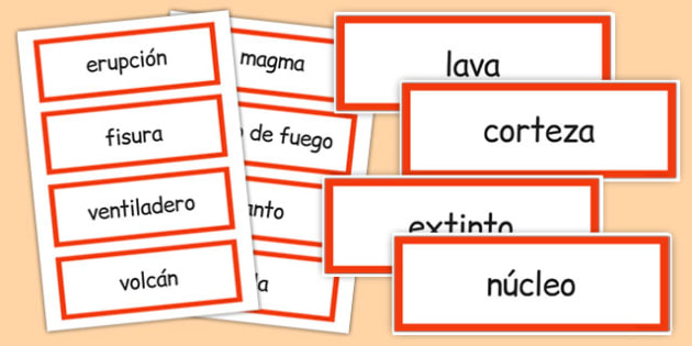 Volcano Word Cards Spanish - spanish, volcano, word cards, word, cards