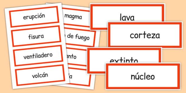 Tarjetas de vocabulario de volcanes - volcán, tarjeta, vocabulario