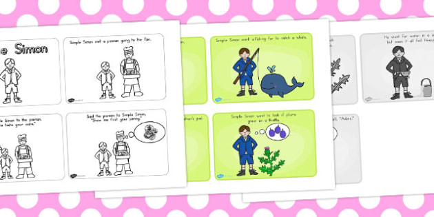 Simple Simon Story Sequencing 4 Per A4 - australia, simon, story